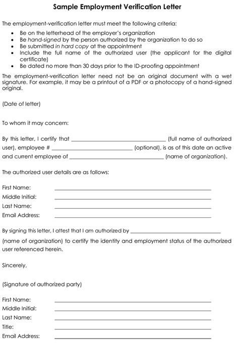 Employment Verification Letter 8 Sles To Choose From Employment Verification Template