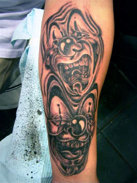 clown sleeve tattoo designs happy sad clown faces on arm 187 ideas