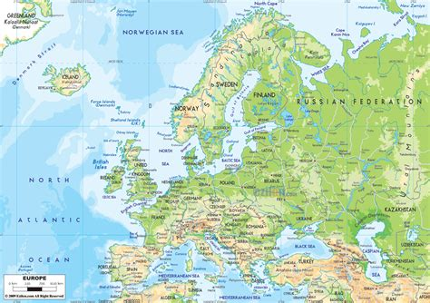 map physical detailed physical map of europe with roads europe