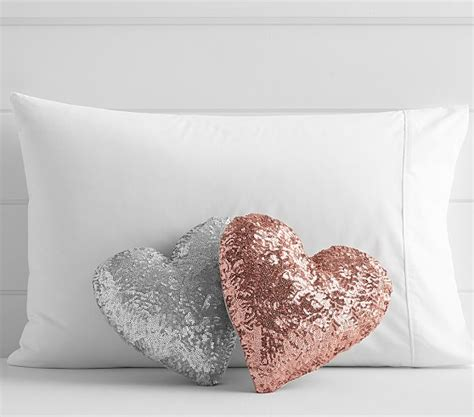 pottery barn bed pillows sequin heart shaped decorative pillow pottery barn kids