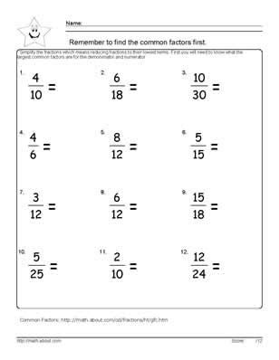 Lowest Term Worksheet by Reduce The Fraction Worksheets 6th Grade Math