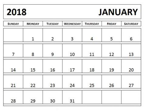 printable january 2018 calendar cute cute january 2018 calendar template printable templates