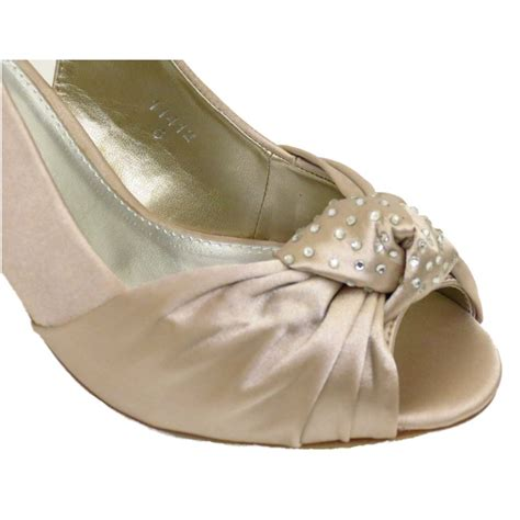 Gold Satin Shoes Wedding by Gold Satin Bridal Bridesmaid Strappy Wedding