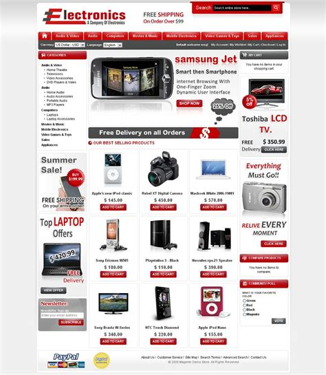 magneto template electronics store premium magento theme from mage support