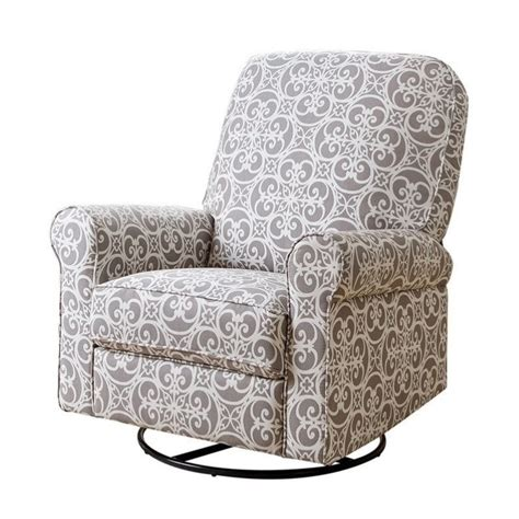 Fabric Swivel Chairs For Living Room Abbyson Living Sydney Fabric Swivel Glider Recliner Chair In Gray Cr 10407 Ash
