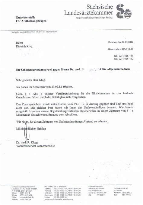Mit Freundlichen Grã ã En Herrn Saechsische Landesaerztekammer Gutachterstelle Arzthaftung