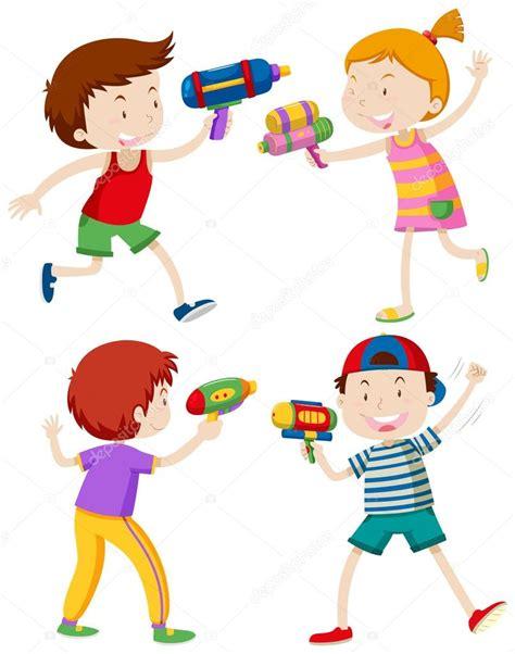 imagenes de niños jugando con agua ni 241 os jugando con pistolas de agua vector de stock