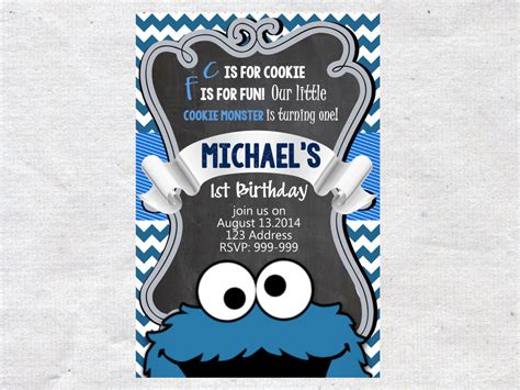 Cookie Monster Birthday Invitecookie Monster Invitejpg Cookie Invitations Templates