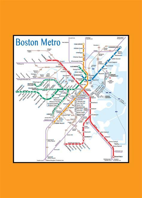 boston metro map items similar to boston metro subway map 11x17 on etsy