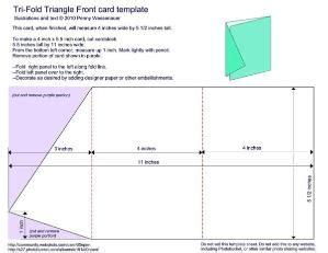 1 4 fold card template triangle tri fold card