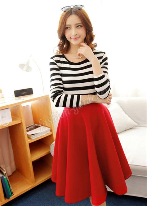 Best Flare Skirt Rok A Line Celana Fashion Korea Baju fashion midi flare skirt available 8 colors all