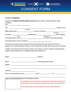 Carnival Cruise Documents For Minors caribbean consent form fill printable fillable