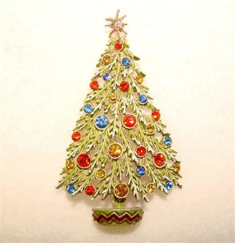 signed art enamel rhinestone vintage christmas tree pin