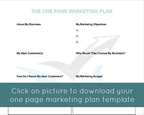 The One Page Marketing Plan Mymarketormymarketor One Page Marketing Strategy Template