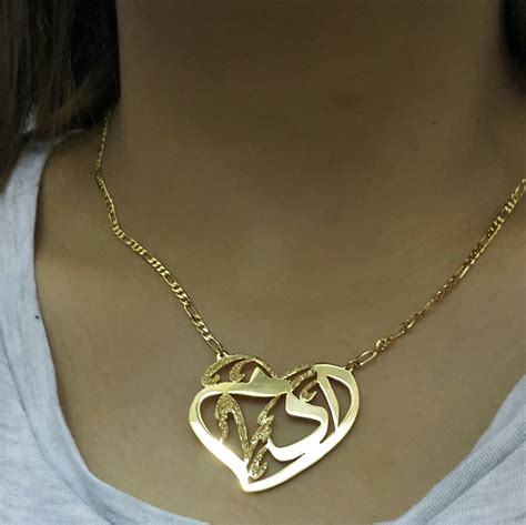 arabic name necklace adam name 21k gold plated any name