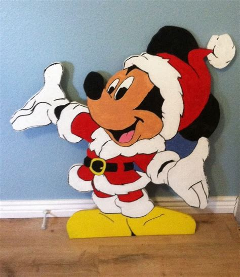 Mickey Mouse Yard Decorations by Santa Mickey Mouse Wood Cut Out Standee