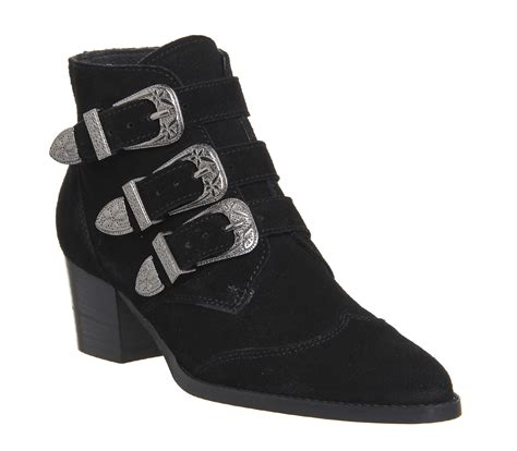office jagger multi buckle boots black suede ankle boots