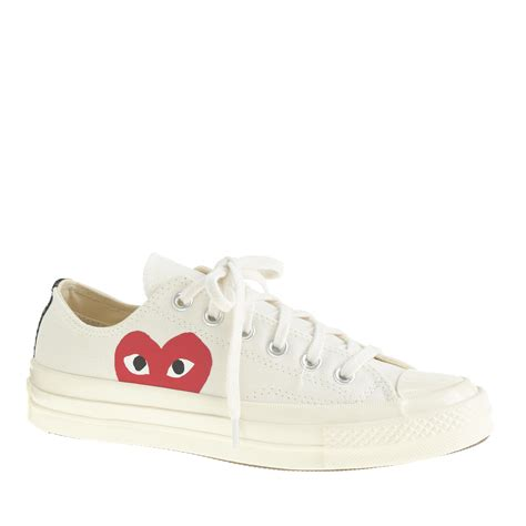 j crew comme des gar 231 ons low top sneakers in white lyst