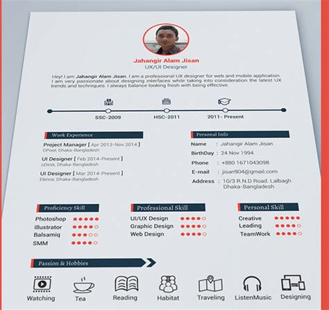 best cv template best free resume templates in psd and ai in 2017 colorlib
