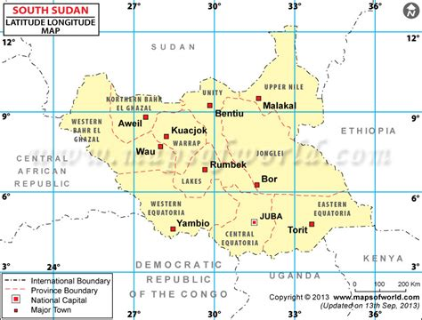 africa map with latitude and longitude south sudan latitude and longitude map