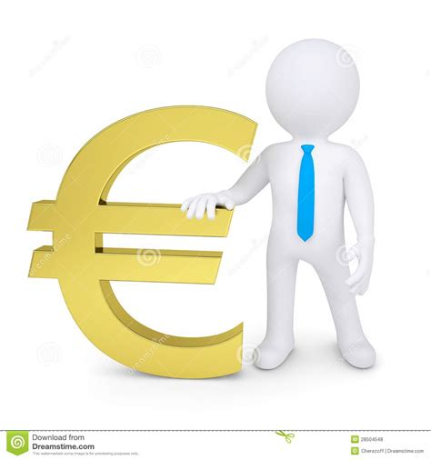 Small House Plans Free white 3d man near the golden euro sign royalty free stock