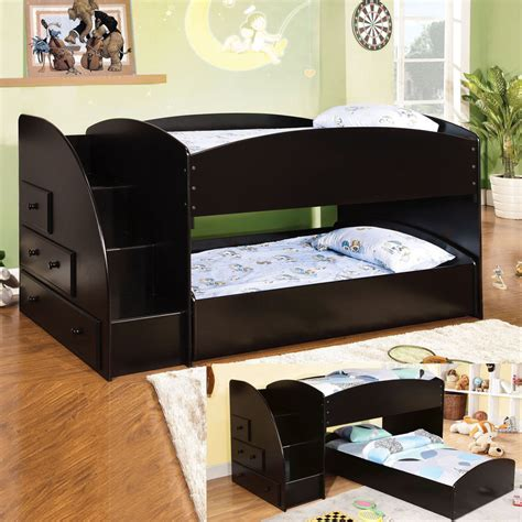 low profile twin bed youth kids wood black low profile twin twin loft bunk bed w step stair drawers ebay