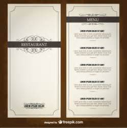 food menu list restaurant template vector free download