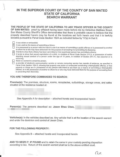 Car Search Warrant April 2010 Usingapple