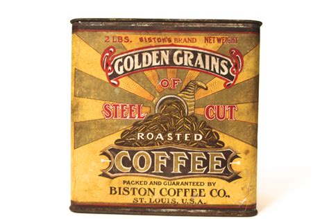 The Antique Advertising Expert   Biston Coffee Co St Louis MO, Golden Grains Brand Paper Label