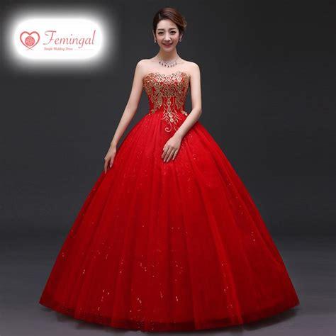 new gaun dress long hong wei 2016 new model red toast clothing long married