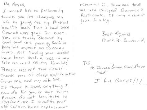 Thank You Letter For Physical Therapy Written Testimonials Cincinnati Sports Medicine Orthopaedic Center