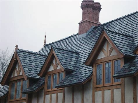 gray green and purple slate blend on tudor style home vermont slate roofs greenstone slate