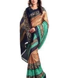 Geomatric Smlxl Blouse buy beige colour bhagalpuri silk saree geomatric printed