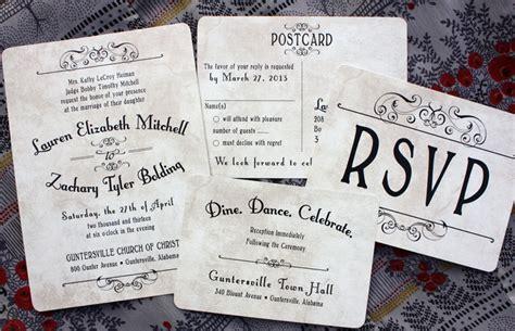 vintage inspired wedding invitations antique background vintage steunk poster style wedding invitations emdotzee designs