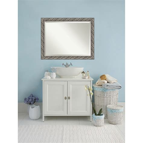 Silver Bathroom Mirrors Silver Luxor 48 X 36 In Bathroom Mirror Amanti Wall Mirror Mirrors Home Decor
