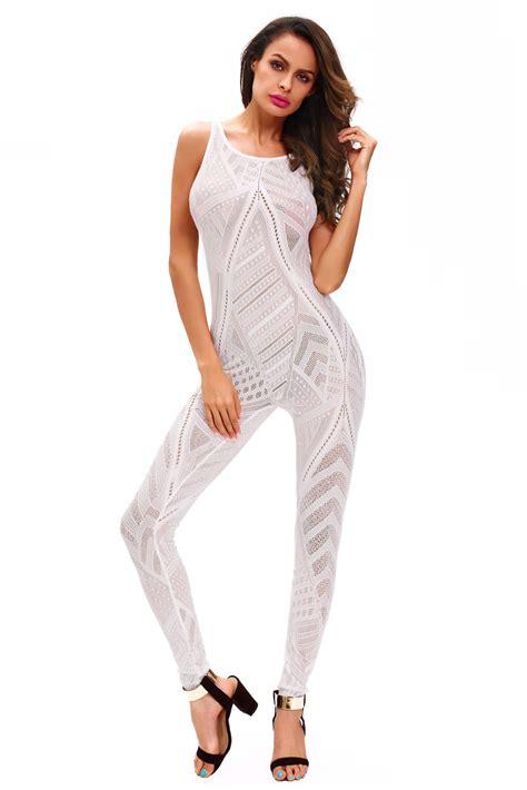 mesh pattern jumpsuit white sheer determination mesh net jumpsuit lc64095w