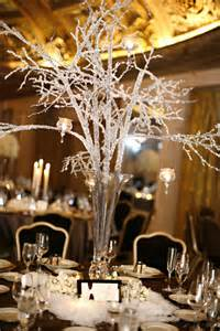 The winterinspired decor included crystal branch centerpieces and faux