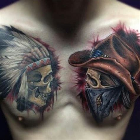 tattoo chest indian indian and cowboy chest piece tattoo pinterest