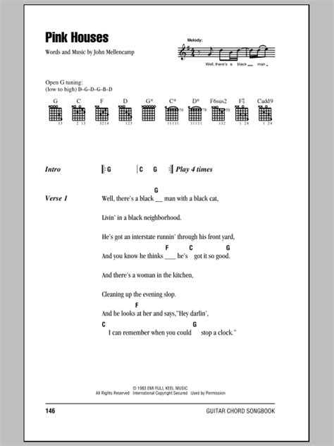 pink houses lyrics pink houses sheet music by john mellenc lyrics chords 81815