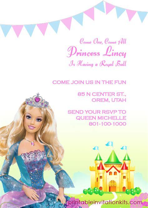 free printable birthday invitations barbie barbie princess birthday invitation template wedding