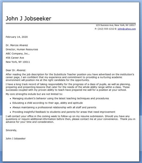 Resume Cover Letter Teaching Substitute Cover Letter Exles Resume Downloads