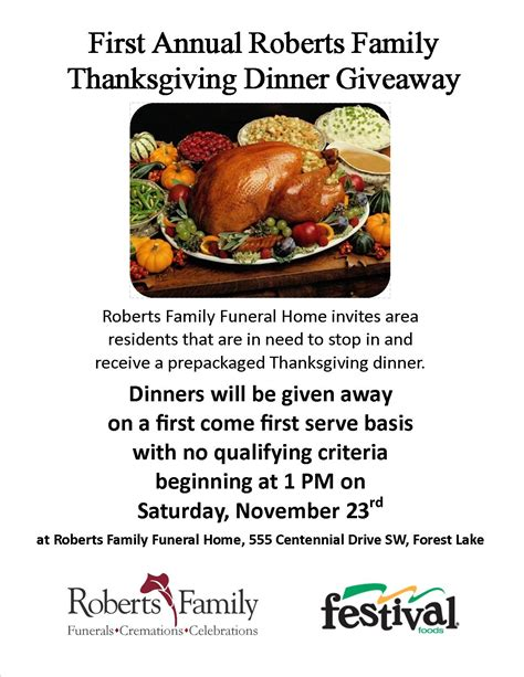 Thanksgiving Turkey Giveaway - thanksgiving dinner giveaway forest lake minnesota funeral home cremations