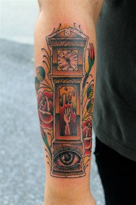 grandfather clock tattoo grandfather clock done by at buddha