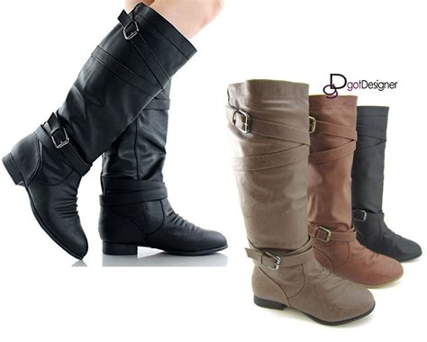 womens motorcycle riding boots with new women s knee high slouch motorcycle riding boots shoes