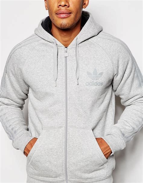 Sweater Hoodie Pria Zr1 M Zipper Hoodie Grey adidas originals zip up hoodie with borg lining ab7589 in gray for lyst