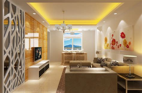 Yellow Modern Minimalist Living Dining Room Interior Design Living Room Dining Room Design