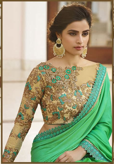 saree jacket design new green designer saree blouse designs saree and designers