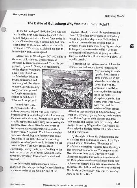 Battle Of Gettysburg Essay by The Battle Of Gettysburg Inquiry The Civil War 8th Grade