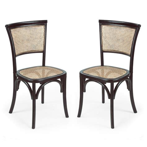 Rattan Back Dining Chairs Adeco Elm Wood Antique Inspired Dining Chair With