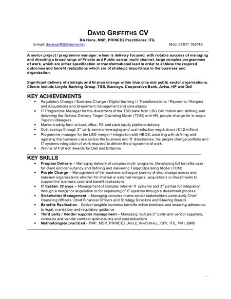 Itil Practitioner Cover Letter by David Griffiths Programme Manager Cv 2015